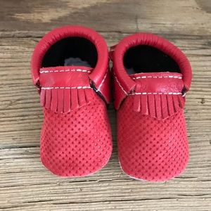 Freshly Picked Red + Silver Moccasins